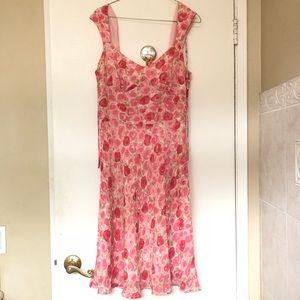 Ann Taylor Loft Silk Frock Pink Roses Dress